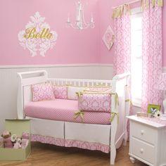Candy Pink Damask Crib Bedding   Pink and White Damask Baby Girl Crib Bedding   Carousel Designs
