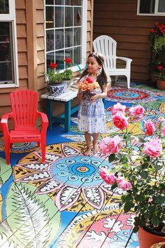painted flooring hand painted deck by alisa burke Painted Floors, Painted Furniture, Painted Rug, Painted Floor Cloths, Stenciled Floor, Plywood Furniture, Garden Furniture, Furniture Design, Outdoor Furniture