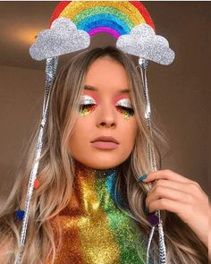 Make Carnaval: Arco-iris Carnival Makeup, Carnival Costumes, Halloween Costumes, Make Carnaval, Costume Carnaval, Modest Summer Outfits, Trendy Outfits, Festival Makeup, Festival Fashion