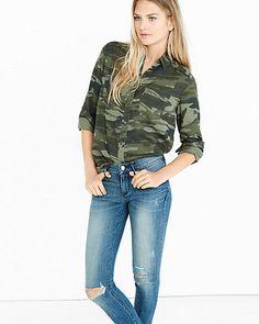8910ba53111 Express Womens Camo Silky Soft Twill Boyfriend Shirt Green X Small