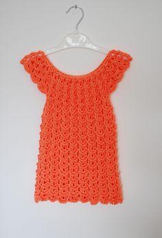 Baby Girl Hand Knitted Dress Orange Cute Clothing Children Dresses Light Orange by handmadebygallka on Etsy