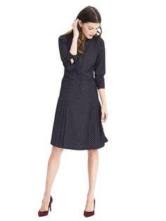 Navy pleated skirt shirtdress from Banana Republic Dress Skirt, Dress Up, Shirt Dress, Midi Dresses, Work Fashion, Skirt Fashion, Navy Pleated Skirt, Modern Outfits, Banana Republic Dress