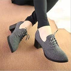plataforma zapatos de tacones gruesos de las mujeres del ante de las bombas con zapatos de cordones más colores disponibles