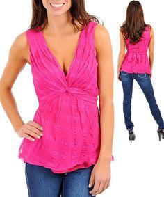 Women's Casual Fuschia V Neck Pleated Top 100 Silk Various Sizes | eBay