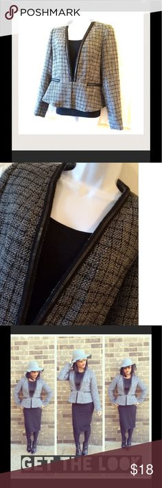 Mossimo plaid metal trim peplum jacket In excellent condition. Slight pilling as this fabric tends to do which can be removed easily. Mossimo Supply Co. Jackets & Coats Blazers