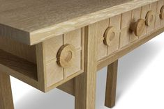 Console table constructed in European oak with decorative turned detailing and veneered facias. Harvey Furniture, Craft Items, Wooden Boxes, Console Table, Entryway Tables, Furniture Design, Crafts, Home Decor, Wood Boxes