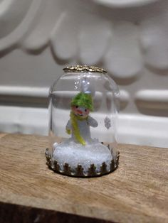Miniature Terrarium Glass Dome Tiny Snowman Lime by WorkofWhimsy Yellow Glitter, Gold Glitter, Glass Terrarium, Gold Filigree, Paper Clay, Glass Domes, Snow Globes, Snowman, Whimsical