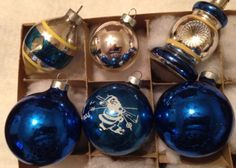 6-VINTAGE-SILVER-BLUE-DOUBLE-INDENT-ATOMIC-LANTERN-STENCIL-GLASS-XMAS-ORNAMENTS