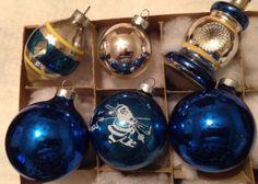 6-VINTAGE-SILVER-BLUE-DOUBLE-INDENT-ATOMIC-LANTERN-STENCIL-GLASS-XMAS-ORNAMENTS