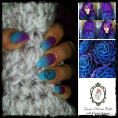 Acrylic blue and purple ombré set with tips. Pinterest inspiration!! ❤❤❤ Purple Ombre, Gemstone Rings, Gemstones, Nails, Pretty, Blue, Inspiration, Jewelry, Finger Nails