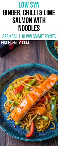 Low Syn Ginger Chilli Lime Salmon with Noodles Pinch Of Nom Slimming World Recipes 393 kcal 1 Syn 10 Weight Watchers Smart Points Slimming World Noodles, Slimming World Dinners, Slimming World Diet, Slimming Eats, Slimming World Recipes, Slimming Workd, Weight Watchers Salmon, Weight Watchers Meals, Super Healthy Recipes