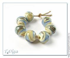 Купить Гравитация сине-серые (бусины лэмпворк) - бусины, бусины для украшений, бусины для бижутерии