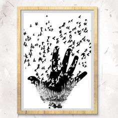 Monochrome hand with forest and birds by Penfoldanddash on Etsy