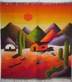 como se hacen los tapices guajiros - Buscar con Google Tole Painting, Fabric Painting, Watercolor Paintings, Weaving Textiles, Tapestry Weaving, Peruvian Art, Desert Art, Art Textile, Southwest Art