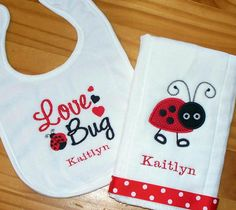 this is what we call our Kaitlyn :) how stinkin cute Baby Embroidery, Embroidery Monogram, Embroidery Ideas, Machine Embroidery, Burp Rags, Burp Cloths, Ladybug Party, Ladybug Room, Baby Mine