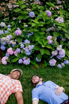 Floral engagement photoshoot with the hydrangeas in the Brooklyn Botanic Gardens. Photographed by Steadfast Studio.