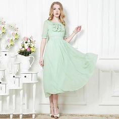 Incern®Women's Solid Color Elegant Slim Thin Dress(More Colors) – AUD $ 41.69