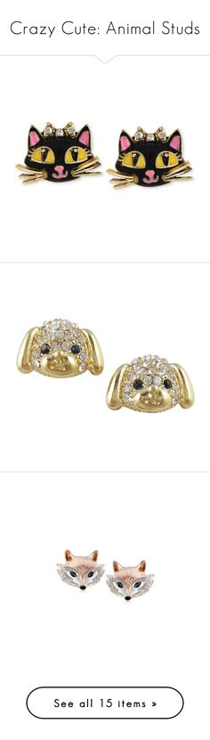 """""""Crazy Cute: Animal Studs"""" by polyvore-editorial ❤ liked on Polyvore featuring animalstuds, jewelry, earrings, no color, earrings jewelry, betsey johnson earrings, betsey johnson jewelry, betsey johnson, stud earrings and silver sapphire earrings"""