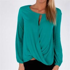 Ella Moss Women's Contemporary Draped Twist Top - love the color & style, but would it be too short?