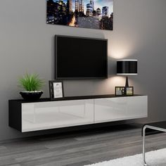 Great for Graspwind Modern TV Stand Media Storage Console Living Room Entertainment Center TV Media Stand, Wall Mounted Living Room Tv, Living Room Modern, Wall Mounted Media Console, Floating Media Console, Console Tv, Wall Mount Tv Stand, Plasma Tv Stands, Floating Entertainment Center, Floating Tv Stand