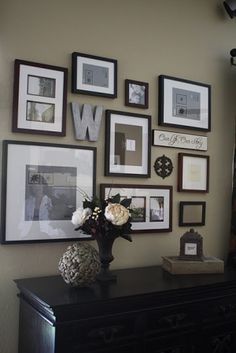 I'm not big on gallery walls, but I like this idea. Make it a small smattering over a hall table/entryway bench, and fill in spaces with small items/letters instead of just a bunch of similarly-sized frames.