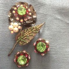 Schiaparelli signed stunning flower pin and Earring set