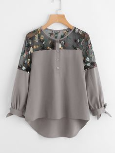 Casual Embroidery and Asymmetrical and Contrast Mesh and Button and Knot Top Regular Fit Round Neck Long Sleeve Grey Embroidered Mesh Panel Dip Hem Tie Cuff Blouse. Girls Fashion Clothes, Teen Fashion Outfits, Hijab Fashion, Trendy Outfits, Trendy Fashion, Fashion Dresses, Mens Fashion, Blouse Styles, Blouse Designs