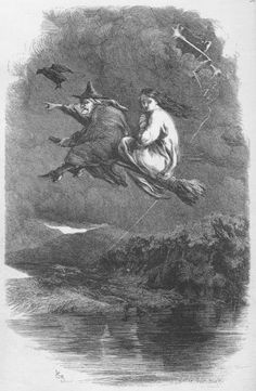 Mother Chattox and Alice Nutter flying to the summit of Pendle Hill. Illustration from my illustrated edition of Ainsworth's novel 'The Lancashire Witches'. (Illustration - 'The Ride through the Murky Air' by Sir John Gilbert. Victorian Halloween, Halloween Art, Vintage Halloween, Halloween Table, Halloween Prints, Halloween Signs, Vintage Holiday, Halloween Halloween, Halloween Makeup