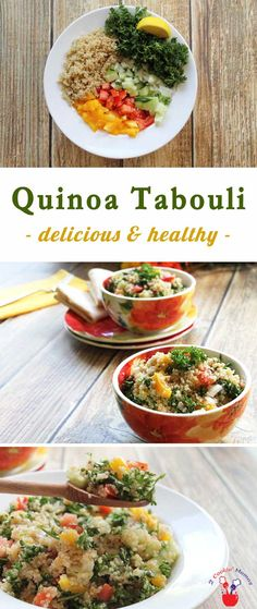 Quinoa tabouli takes traditional tabouli to the next level! A nutrient-rich salad recipe that's packed full of a veritable garden of vegetables providing protein, fiber and antioxidants. via @2CookinMamas