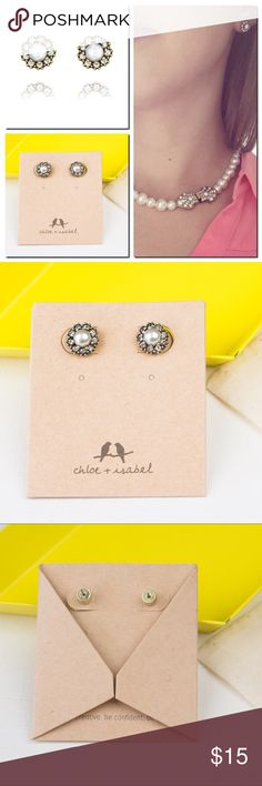 """Chloe + Isabel Heirloom Pearl + Pavé Stud Earrings ❣️Brand new.  ❣️Dust pouch included ❣️Price is firm. Bundle account is available.  Everyone loves a stud, particularly these vintage-inspired beauties that feature a cream pearl center surrounded by light-catching crystal pavé. Whether gifting your bridesmaids or simply adding a touch of c+i glamour to your daily routine, you'll find yourself reaching for this pretty + petite pair time after time. * 0.4"""" approx. width * stainless steel post…"""