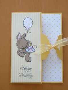 Card made using Scalloped Tag Topper punch from Stampin' Up and paper pieced LOTV bunny image