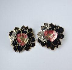 Cute Dramatic black and pink vintage 80s floral by VintageSoulGeek, $10.00