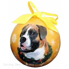 E & S Pets Boxer, Uncropped Shatter Proof Christmas Ball Ornament