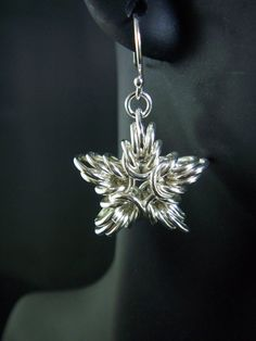 Sterling Silver Byzantine Chainmaille Star Earrings by MGGems on Etsy, $60.00
