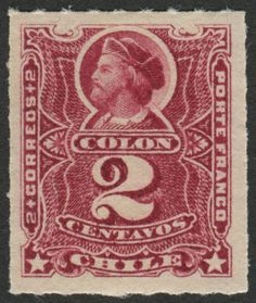 """Chile Scott #38 (issued 1894) The Cicarelli Portrait of Christopher Columbus.  The portrait of Christopher Columbus (Cristóbal Colón) by Alejandro Cicarelli was painted in 1849. The early """"Columbus"""" stamps of Chile were designed from this image. The painting is located in the Museo Histórico Nacional (National Historical Museum), Santiago, Chile."""