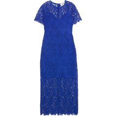Diane von Furstenberg Guipure lace midi dress (£500) ❤ liked on Polyvore featuring dresses, royal blue, midi dress, midi day dresses, lacy dress, lace dress and royal blue lace dress