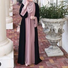 Salmah abaya by zhafran – berbahan crep premium – seleting samping – panjang dre… Abaya Mode, Mode Hijab, Abaya Designs, Hijab Style Dress, Hijab Outfit, Abaya Style, Muslim Women Fashion, Islamic Fashion, Abaya Fashion