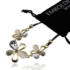 Crystal Gold Flower Charms Black Rope Chain Necklace  Fashion Jewelry Accessories for Women Girls Teens >>> You can find out more details at the link of the image.