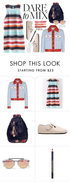 """Dare To Mix (preppy)"" by beebeely-look ❤ liked on Polyvore featuring Fendi, Westward Leaning, Estée Lauder, stripes, preppy, backpack, patternmixing and zaful"