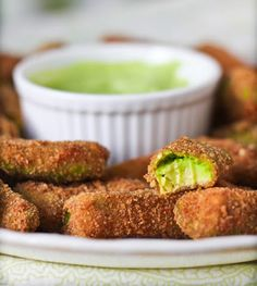 Avocado Fries with Cilantro Lemon Dipping Sauce...we @ thelazyassvegan are on an advocato kick this week.  So many things you can do with them and they are so good for you!