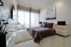 Kleines Schlafzimmer Indirekte Beleuchtung Marmor Bodenfliesen Schwarze  Akzente