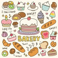 Set of Cute Bakery, Pastry and Dessert Doodle. Cute Doodle Art, Doodle Art Drawing, Cute Art, Food Doodles, Kawaii Doodles, Cute Food Drawings, Kawaii Drawings, Logo Patisserie, Desserts Drawing