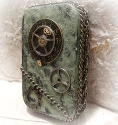 Steam  Punk altered tin box embellished Green by AlteredStateofTin