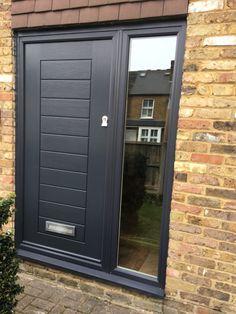 Solidor Front Door with Side Panel - SWR Redefining Homes Entrance Doors, Garage Doors, Solidor Door, Composite Front Door, Grey Front Doors, External Doors, Front Door Design, House Doors, Steel Doors