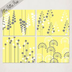 Modern Flower Art Print, yellow and gray art, wall art for living, dining room, kitchen, size 8x10