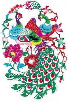 Chinese paper cut of Phoenixes, lovely!!