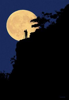 Into the Light, Ron Jones. Full moon, man with walking stick, silhouette.