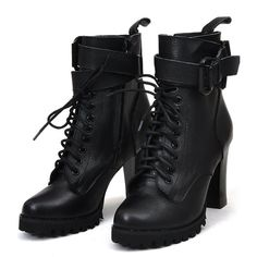 Online Shop Women's Real Leather Lace-up Ankle Boots .- Online Shop Women's Real Leather Lace-up Ankle Boots Ankle Boots High Heels Shoes Gr. Thick Heel Boots, Lace Up Heel Boots, Heeled Boots, Bootie Boots, Shoe Boots, Shoes Heels, Laced Boots, Gladiator Boots, Ankle Heels
