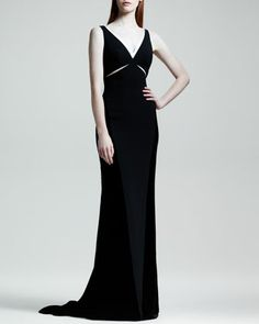 Velvet Cutout Contrast-Trim Gown by Stella McCartney at Bergdorf Goodman.