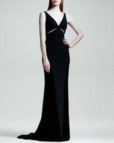 Velvet Cutout Contrast-Trim Gown by Stella McCartney at Bergdorf Goodman.